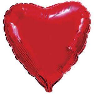 Сердце красное большое шар фольгированный с гелием