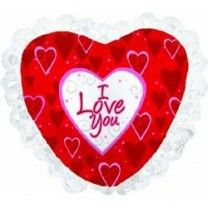 Сердце Праздничное с рюшами (2 цвета) шар фольгированный с гелием