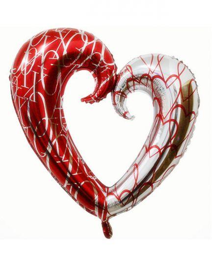 Фигурное сердце ХО шар фольгированный с гелием