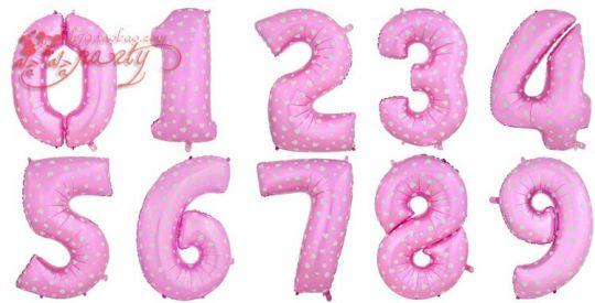 Цифры розовые с сердечками