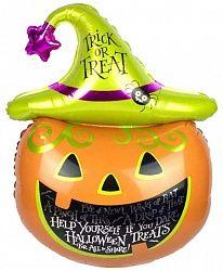 Тыква в шляпе фольгированный шар с гелием
