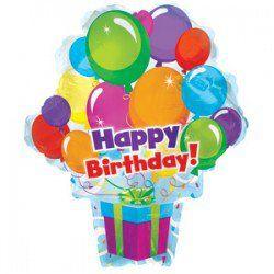 Подарок с шарами с днем рождения - шар из фольги