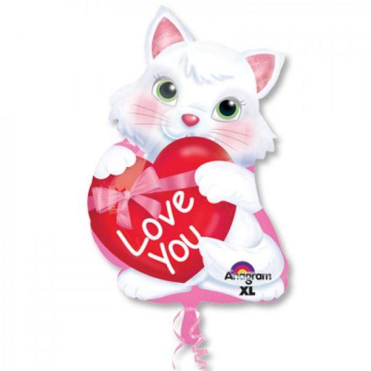 Котёнок с сердечком  фольгированный шар с гелием